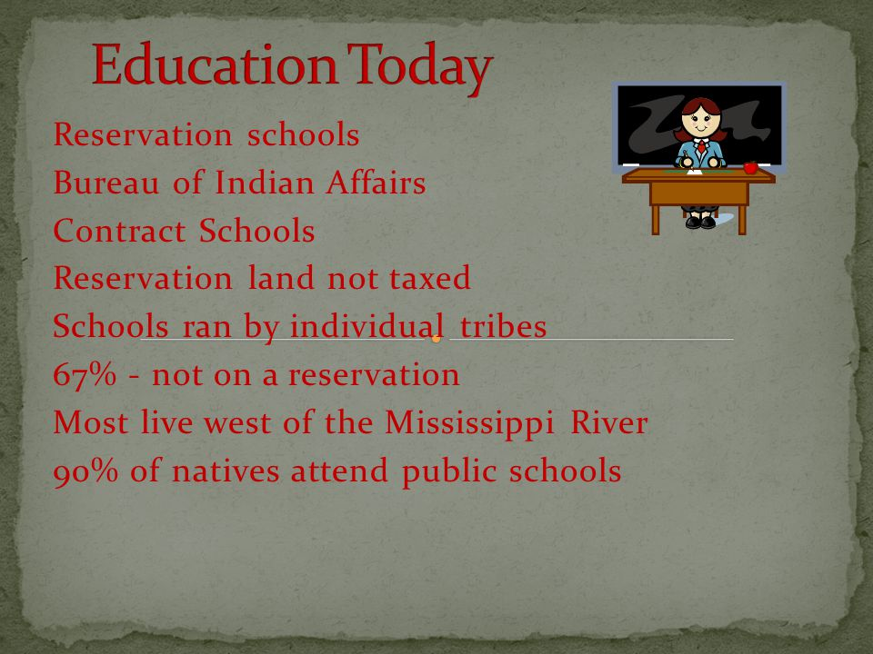 Reservation schools Bureau of Indian Affairs Contract Schools Reservation land not taxed Schools ran by individual tribes 67% - not on a reservation M