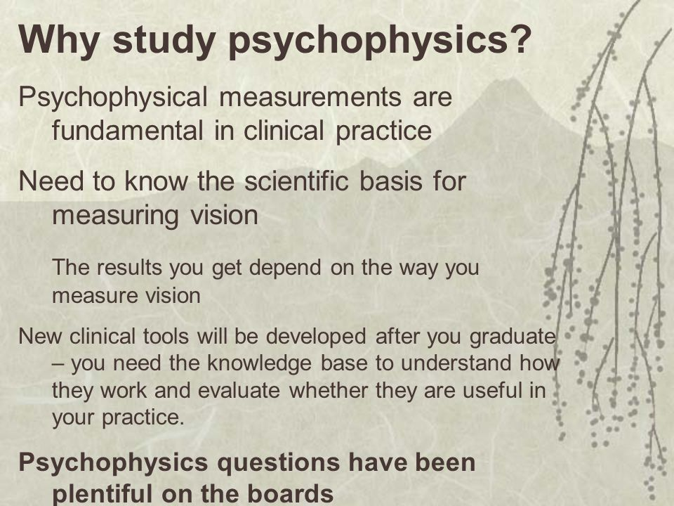 Why study psychophysics.