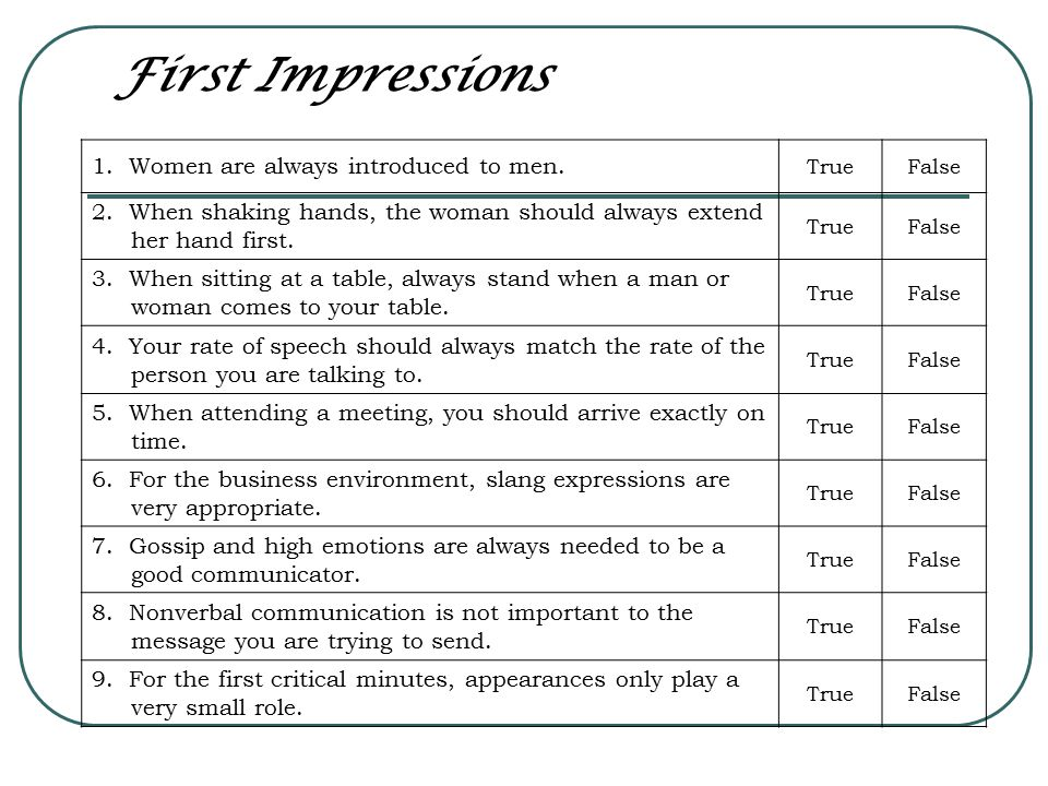 First Impressions 1. Women are always introduced to men.