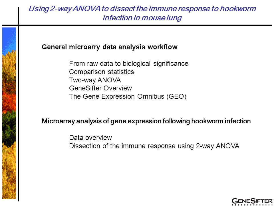 General microarry data analysis workflow From raw data to biological significance Comparison statistics Two-way ANOVA GeneSifter Overview The Gene Expression Omnibus (GEO) Microarray analysis of gene expression following hookworm infection Data overview Dissection of the immune response using 2-way ANOVA Using 2-way ANOVA to dissect the immune response to hookworm infection in mouse lung