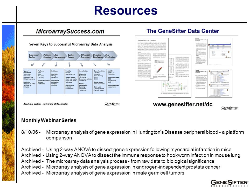 Resources Monthly Webinar Series 8/10/06 - Microarray analysis of gene expression in Huntington's Disease peripheral blood - a platform comparison Arc