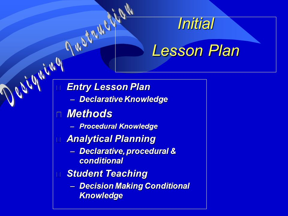 Initial Lesson Plan n Entry Lesson Plan –Declarative Knowledge n Methods –Procedural Knowledge n Analytical Planning –Declarative, procedural & conditional n Student Teaching –Decision Making Conditional Knowledge