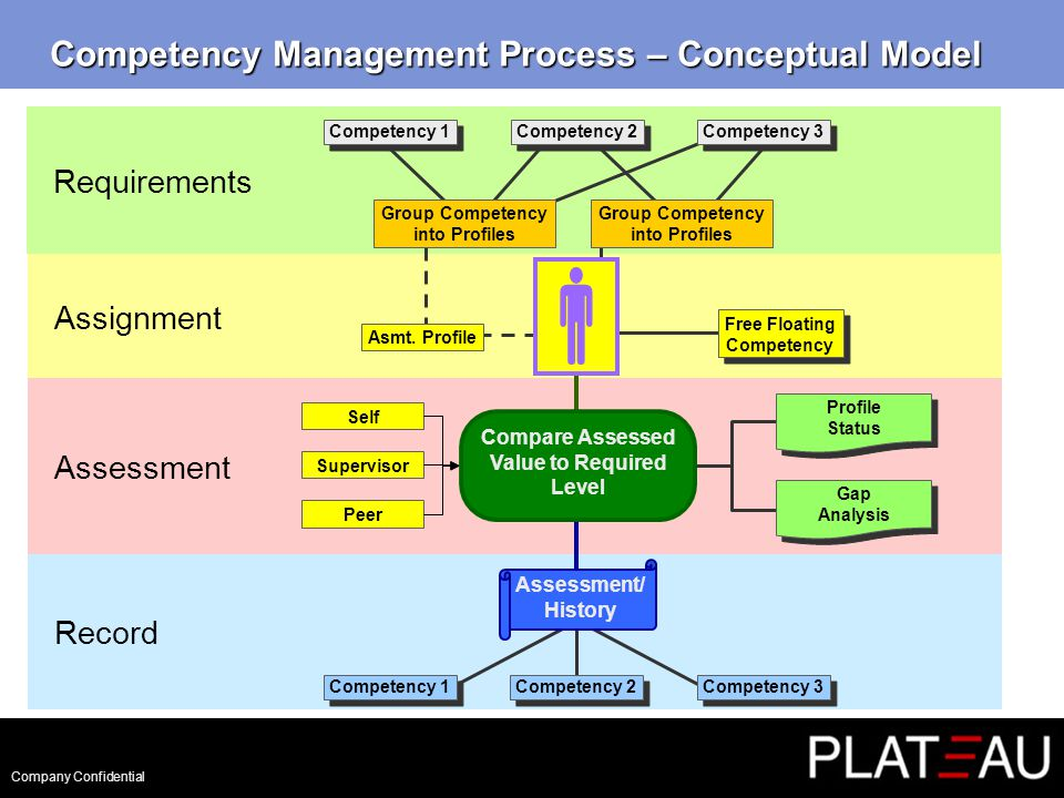 Company Confidential Competency Management Process – Conceptual Model Requirements Assignment Assessment Record Assessment/ History Competency 1 Competency 2 Competency 3 Profile Status Gap Analysis Compare Assessed Value to Required Level Asmt.
