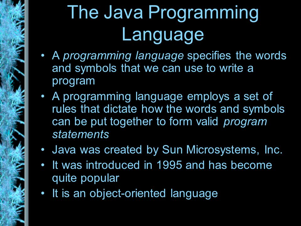 The Java Programming Language A programming language specifies the words and symbols that we can use to write a program A programming language employs a set of rules that dictate how the words and symbols can be put together to form valid program statements Java was created by Sun Microsystems, Inc.