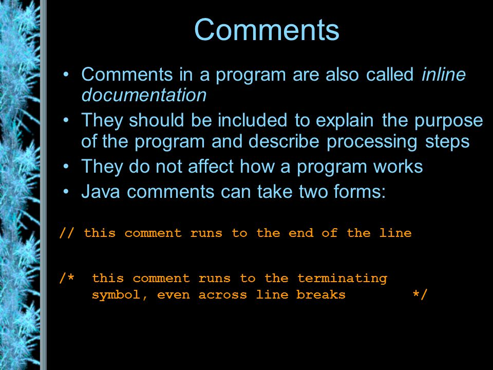 Readable Code: Comments Comments can help make your program readable and understandable by others (including markers!) You will be required to comment your code extensively.