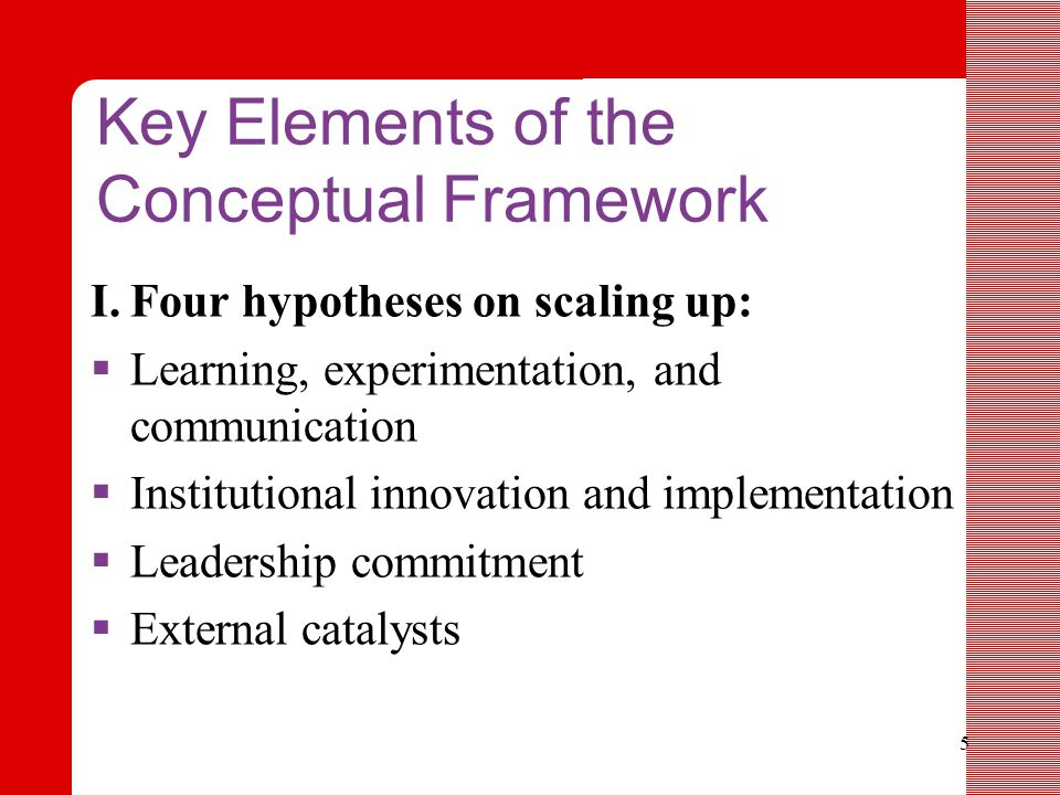 5 Key Elements of the Conceptual Framework I.Four hypotheses on scaling up:  Learning, experimentation, and communication  Institutional innovation and implementation  Leadership commitment  External catalysts