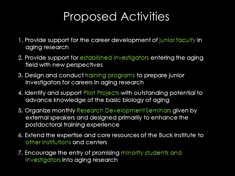 Proposed Activities 1.
