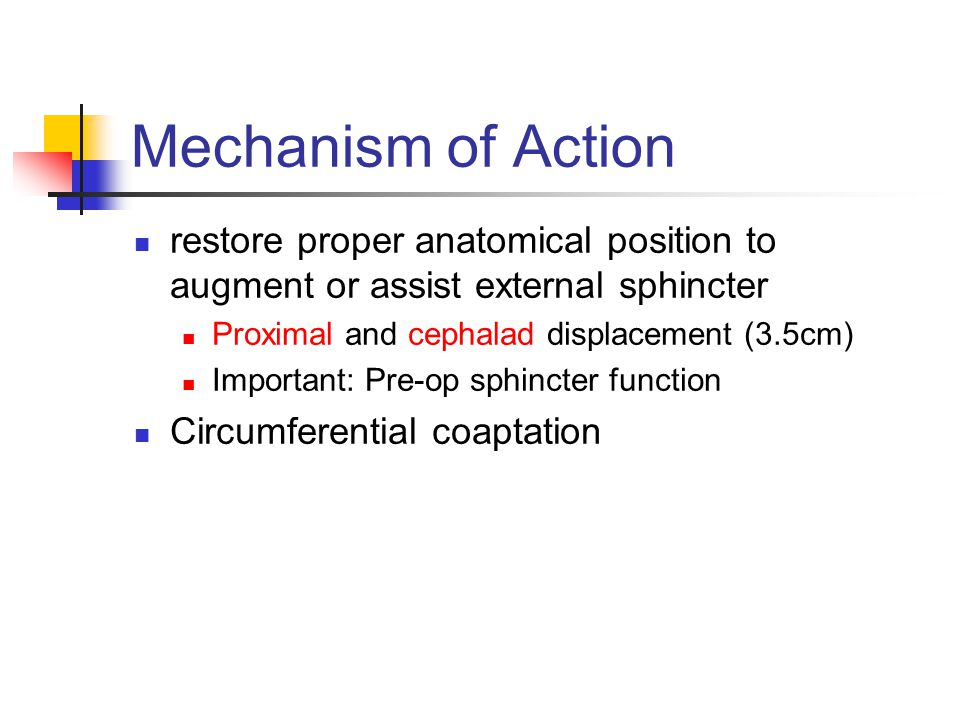 Mechanism of Action restore proper anatomical position to augment or assist external sphincter Proximal and cephalad displacement (3.5cm) Important: Pre-op sphincter function Circumferential coaptation
