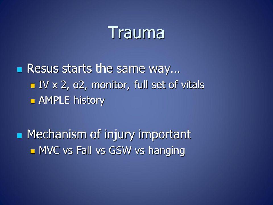 Trauma Resus starts the same way… Resus starts the same way… IV x 2, o2, monitor, full set of vitals IV x 2, o2, monitor, full set of vitals AMPLE his