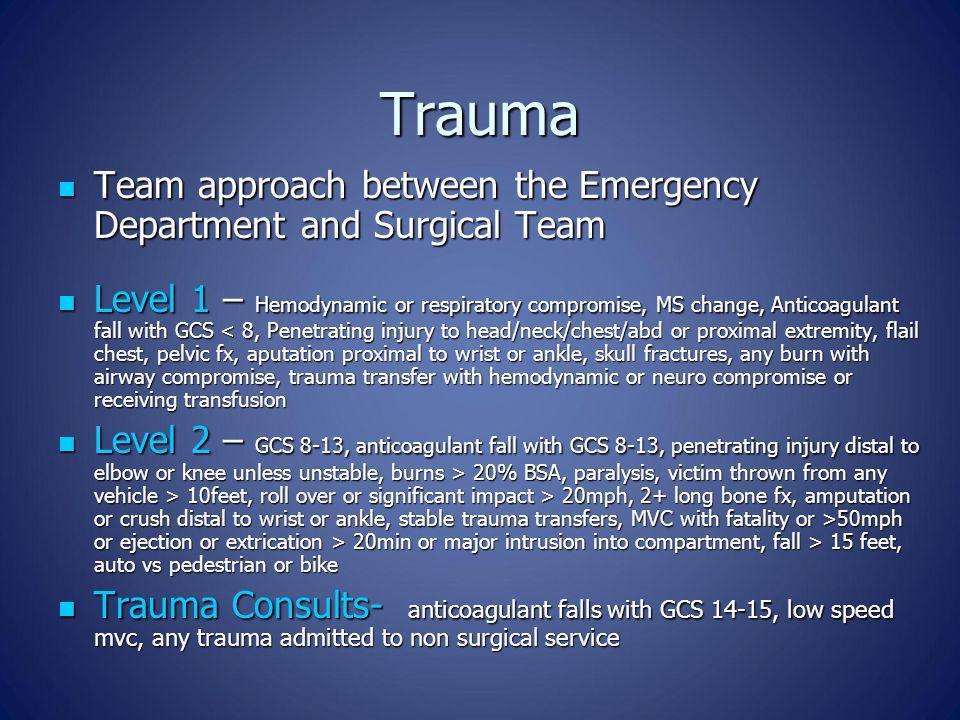 Trauma Team approach between the Emergency Department and Surgical Team Team approach between the Emergency Department and Surgical Team Level 1 – Hem