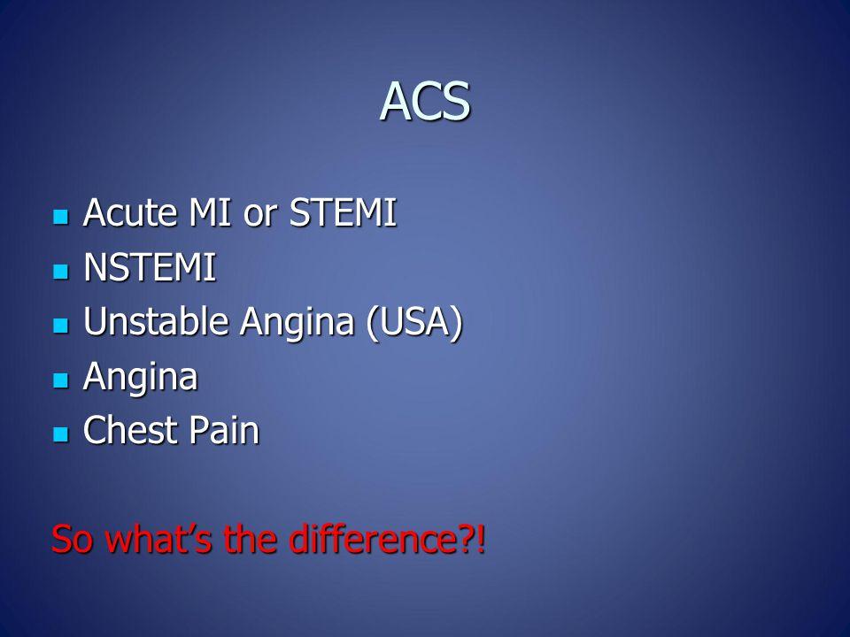 ACS Acute MI or STEMI Acute MI or STEMI NSTEMI NSTEMI Unstable Angina (USA) Unstable Angina (USA) Angina Angina Chest Pain Chest Pain So what's the difference?!