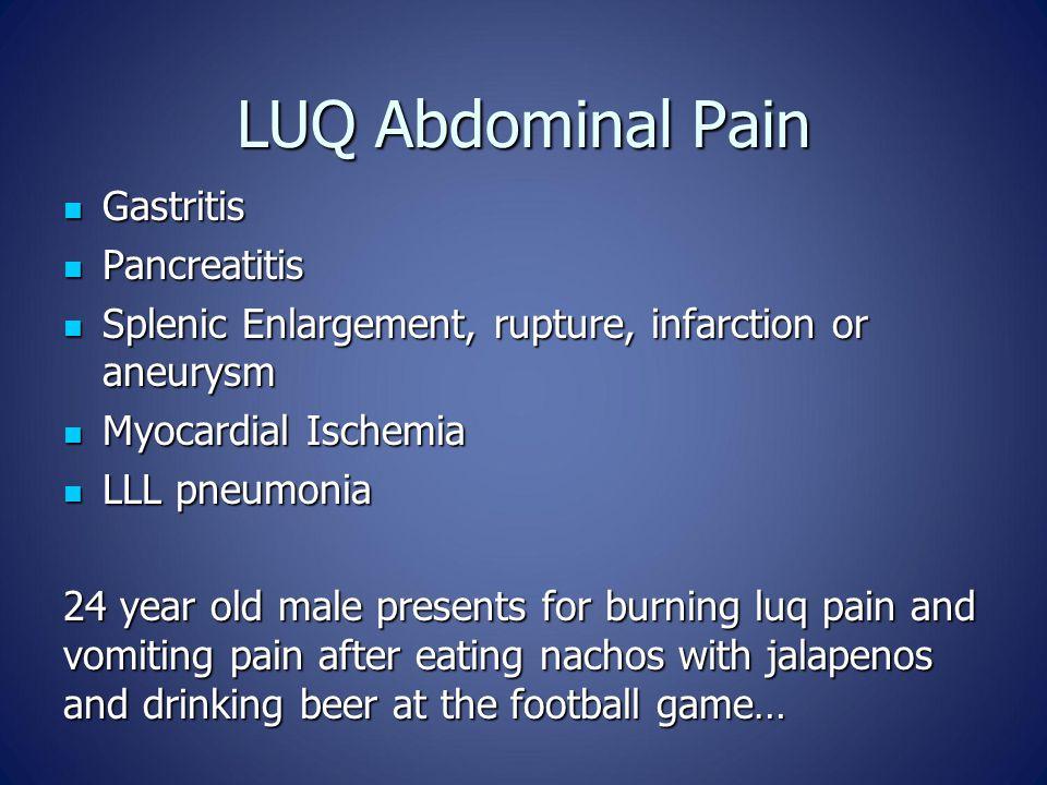 LUQ Abdominal Pain Gastritis Gastritis Pancreatitis Pancreatitis Splenic Enlargement, rupture, infarction or aneurysm Splenic Enlargement, rupture, in
