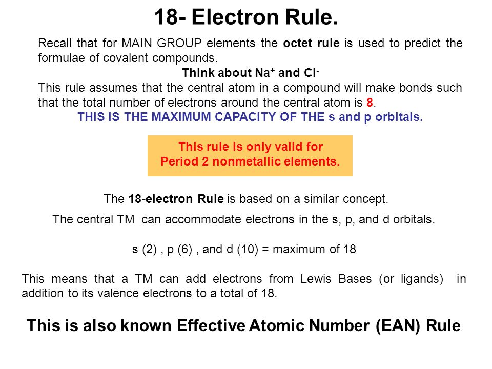 Simple Examples of the 18 Electron Rule Example 1.