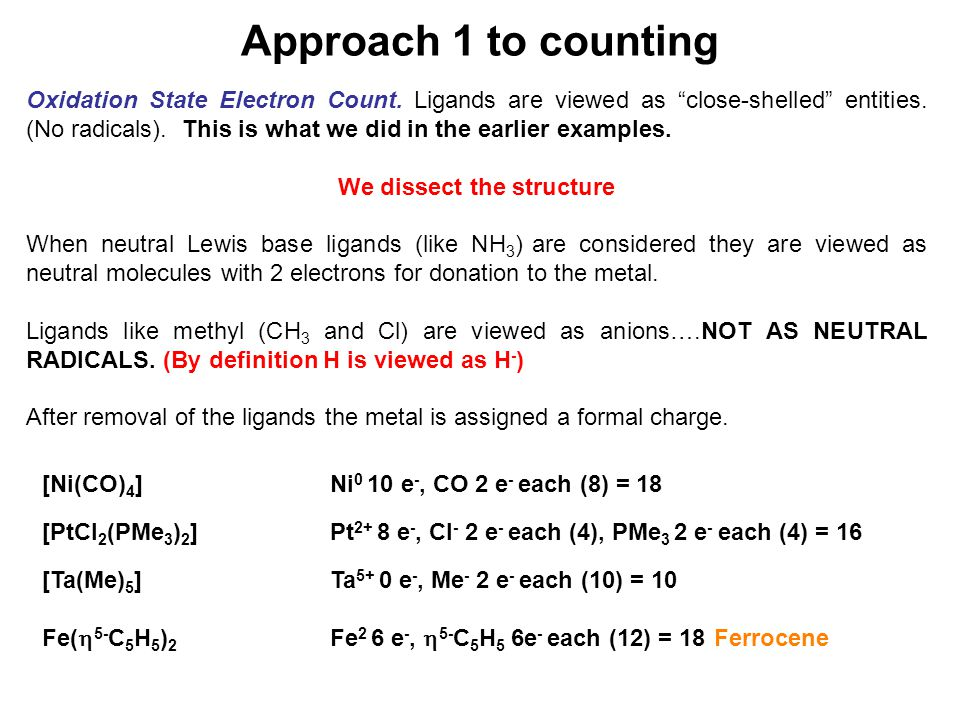 Approach 1 to counting Oxidation State Electron Count.