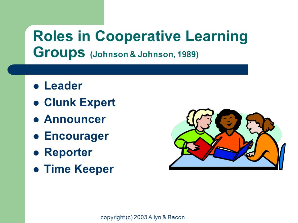 copyright (c) 2003 Allyn & Bacon Roles in Cooperative Learning Groups (Johnson & Johnson, 1989) Leader Clunk Expert Announcer Encourager Reporter Time Keeper