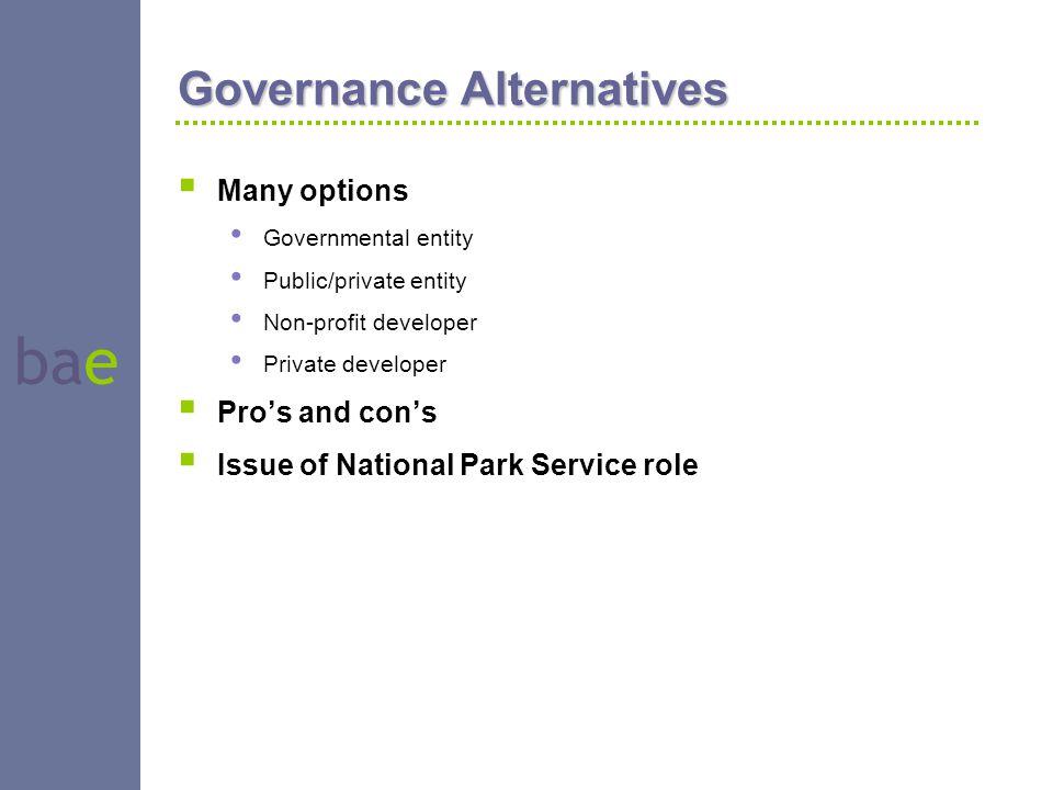 bae Governance Alternatives  Many options Governmental entity Public/private entity Non-profit developer Private developer  Pro's and con's  Issue of National Park Service role