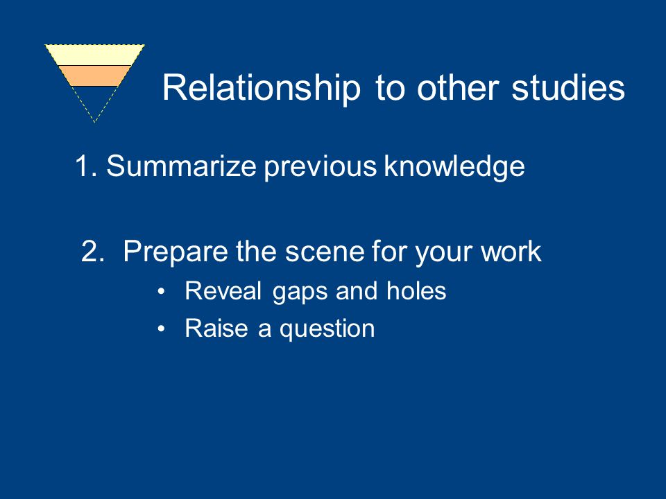 Relationship to other studies 1.Summarize previous knowledge 2.