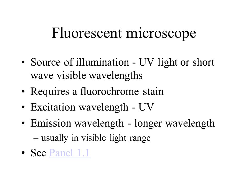 Fluorescent microscope Source of illumination - UV light or short wave visible wavelengths Requires a fluorochrome stain Excitation wavelength - UV Emission wavelength - longer wavelength –usually in visible light range See Panel 1.1Panel 1.1