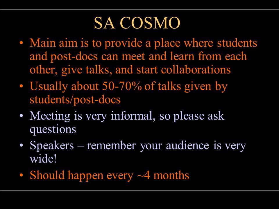 21 November 2005Bruce BassettSA COSMO SCALPEL AND SALT So what.