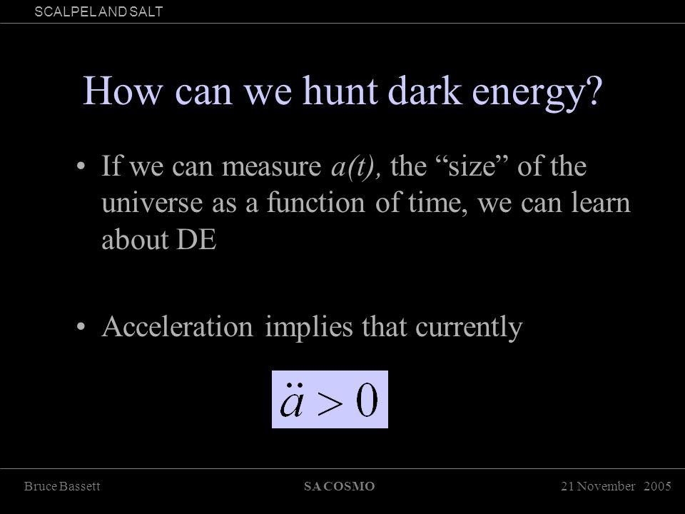 21 November 2005Bruce BassettSA COSMO SCALPEL AND SALT How can we hunt dark energy.