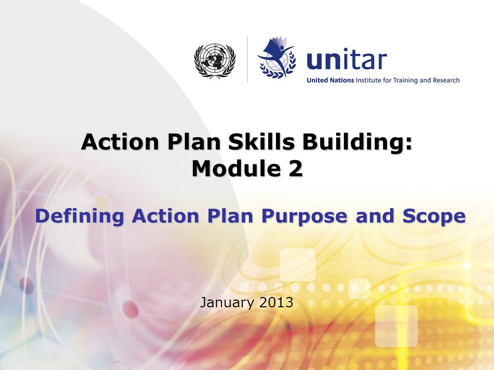 Action Plan Skills Building: Module 2 Defining Action Plan Purpose and Scope January 2013