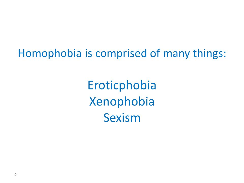 Homophobia is comprised of many things: Eroticphobia Xenophobia Sexism 2