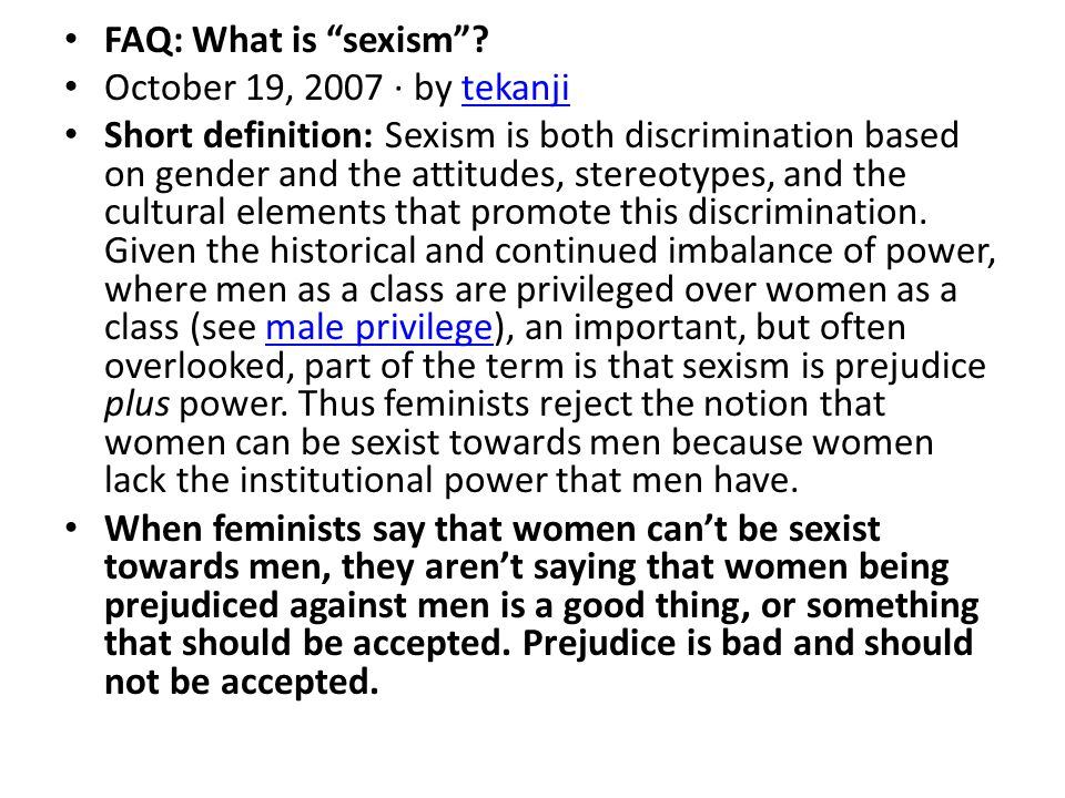 FAQ: What is sexism .