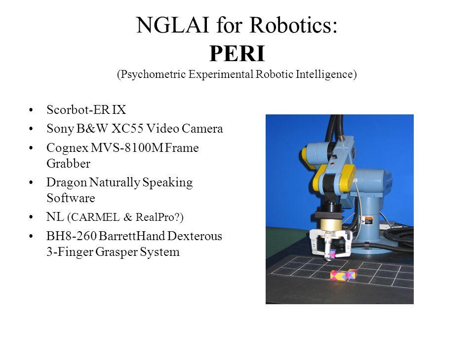 NGLAI for Robotics: PERI (Psychometric Experimental Robotic Intelligence) Scorbot-ER IX Sony B&W XC55 Video Camera Cognex MVS-8100M Frame Grabber Dragon Naturally Speaking Software NL (CARMEL & RealPro?) BH8-260 BarrettHand Dexterous 3-Finger Grasper System
