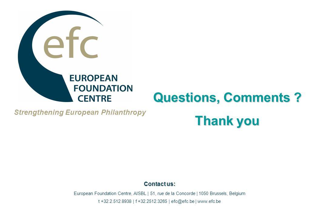 Strengthening European Philanthropy Questions, Comments .