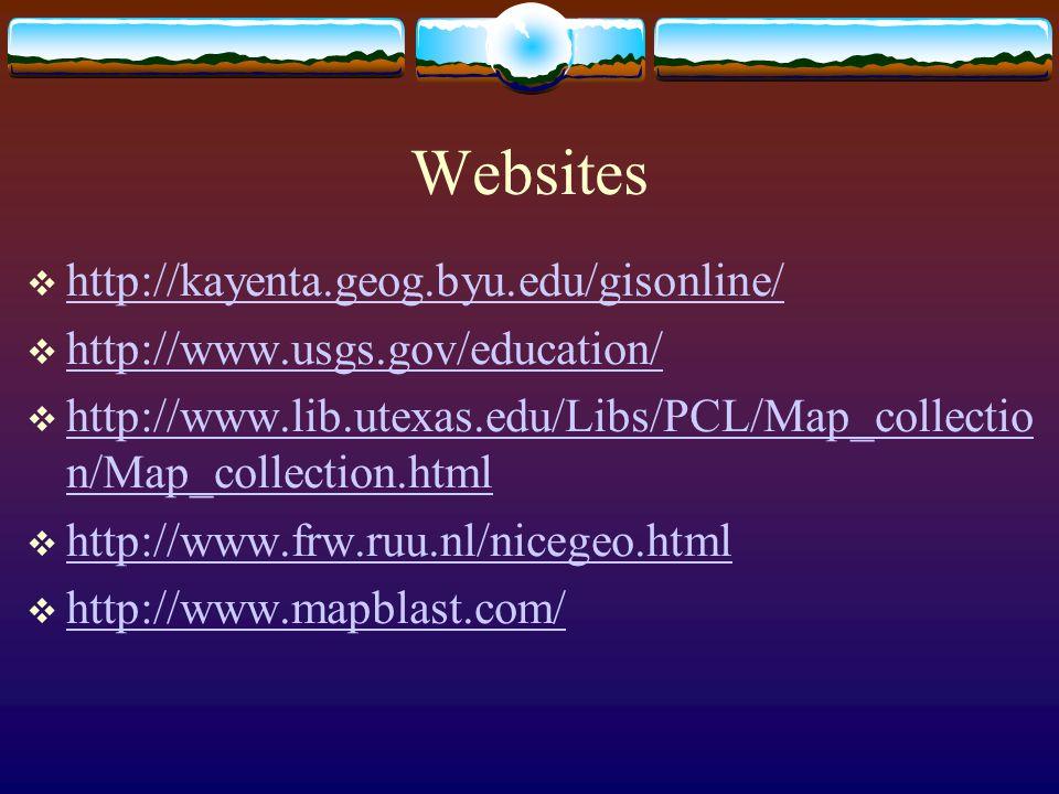 Websites  http://kayenta.geog.byu.edu/gisonline/ http://kayenta.geog.byu.edu/gisonline/  http://www.usgs.gov/education/ http://www.usgs.gov/education/  http://www.lib.utexas.edu/Libs/PCL/Map_collectio n/Map_collection.html http://www.lib.utexas.edu/Libs/PCL/Map_collectio n/Map_collection.html  http://www.frw.ruu.nl/nicegeo.html http://www.frw.ruu.nl/nicegeo.html  http://www.mapblast.com/ http://www.mapblast.com/