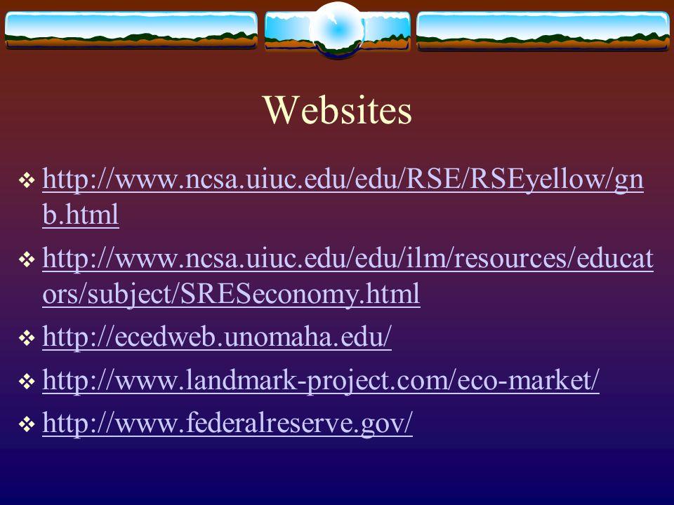 Websites  http://www.ncsa.uiuc.edu/edu/RSE/RSEyellow/gn b.html http://www.ncsa.uiuc.edu/edu/RSE/RSEyellow/gn b.html  http://www.ncsa.uiuc.edu/edu/ilm/resources/educat ors/subject/SRESeconomy.html http://www.ncsa.uiuc.edu/edu/ilm/resources/educat ors/subject/SRESeconomy.html  http://ecedweb.unomaha.edu/ http://ecedweb.unomaha.edu/  http://www.landmark-project.com/eco-market/ http://www.landmark-project.com/eco-market/  http://www.federalreserve.gov/ http://www.federalreserve.gov/