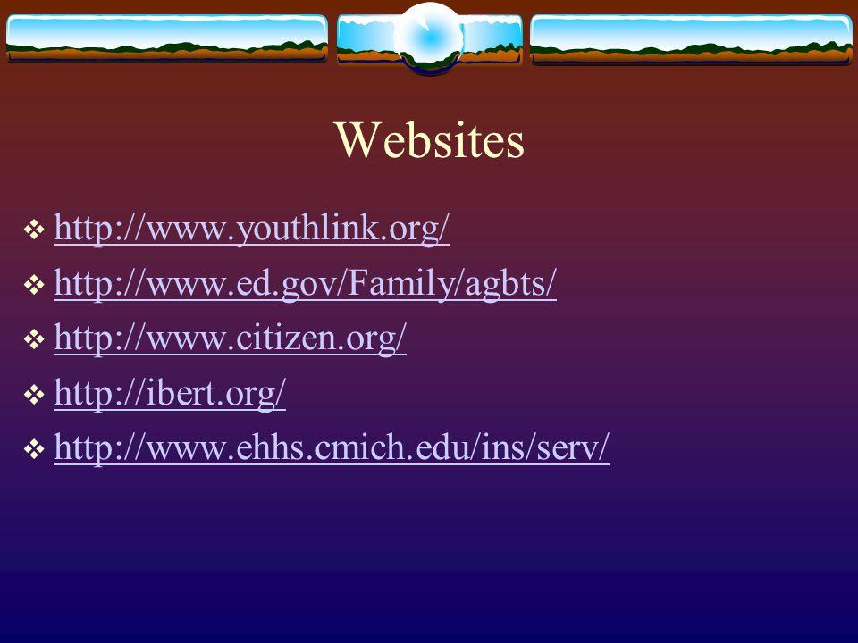 Websites  http://www.youthlink.org/ http://www.youthlink.org/  http://www.ed.gov/Family/agbts/ http://www.ed.gov/Family/agbts/  http://www.citizen.org/ http://www.citizen.org/  http://ibert.org/ http://ibert.org/  http://www.ehhs.cmich.edu/ins/serv/ http://www.ehhs.cmich.edu/ins/serv/
