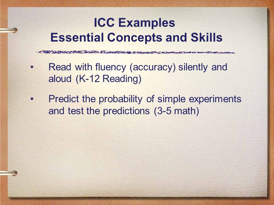ICC Examples Essential Concepts and Skills Read with fluency (accuracy) silently and aloud (K-12 Reading) Predict the probability of simple experiments and test the predictions (3-5 math)
