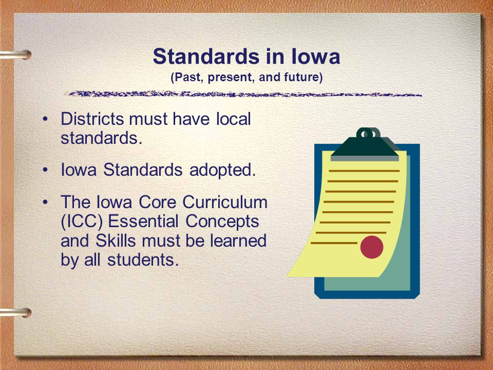 Standards in Iowa (Past, present, and future) Districts must have local standards.