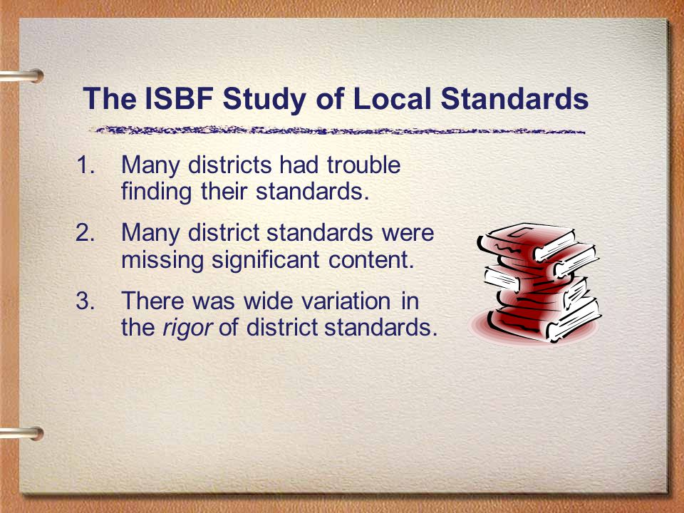 The ISBF Study of Local Standards 1.Many districts had trouble finding their standards.