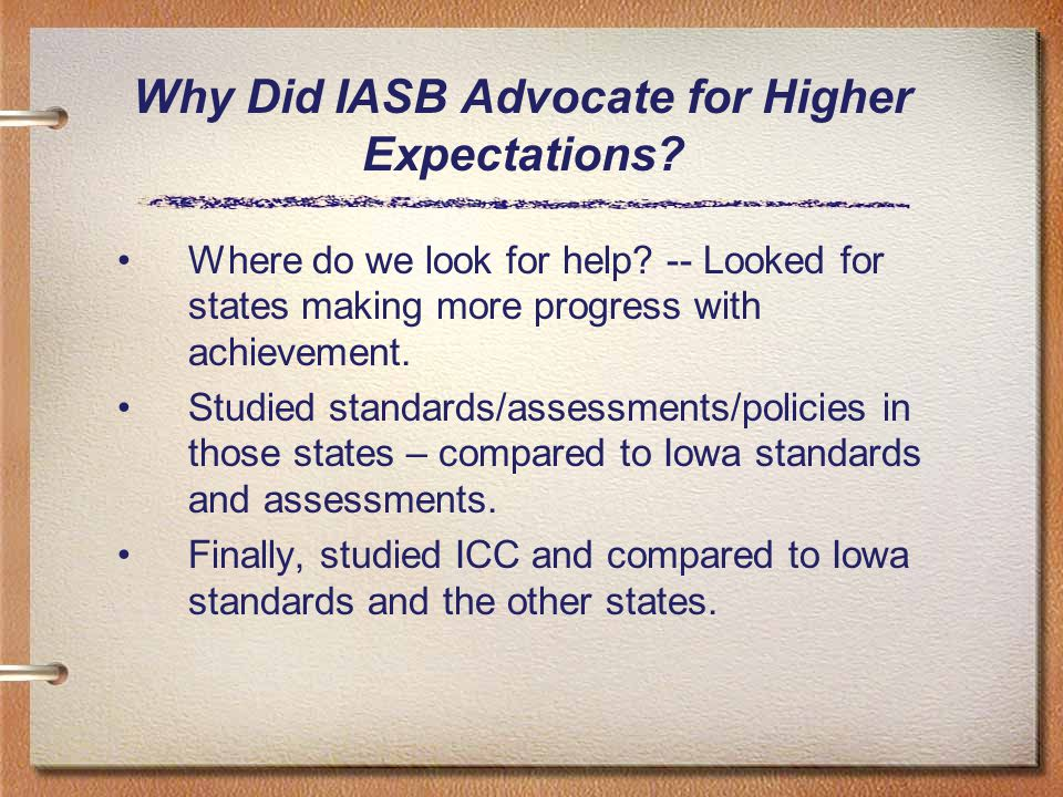 Why Did IASB Advocate for Higher Expectations. Where do we look for help.