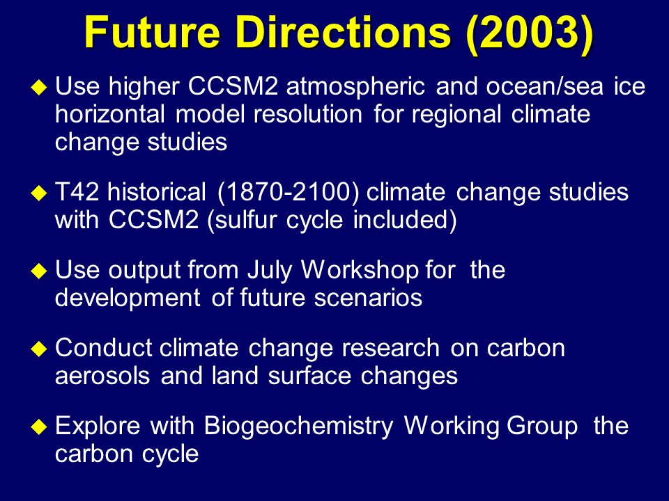 Future Directions (2003) u Use higher CCSM2 atmospheric and ocean/sea ice horizontal model resolution for regional climate change studies u T42 historical (1870-2100) climate change studies with CCSM2 (sulfur cycle included) u Use output from July Workshop for the development of future scenarios u Conduct climate change research on carbon aerosols and land surface changes u Explore with Biogeochemistry Working Group the carbon cycle
