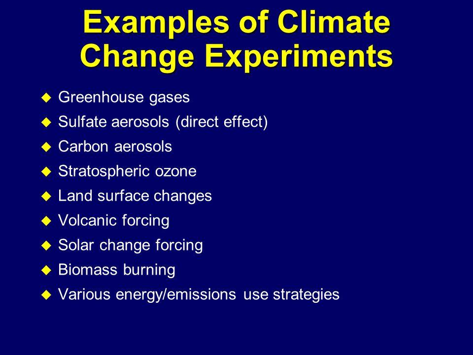 Examples of Climate Change Experiments u Greenhouse gases u Sulfate aerosols (direct effect) u Carbon aerosols u Stratospheric ozone u Land surface changes u Volcanic forcing u Solar change forcing u Biomass burning u Various energy/emissions use strategies