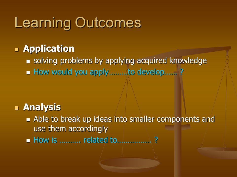 Learning Outcomes Synthesis Synthesis The ability to compile different ideas together into a integrated whole The ability to compile different ideas together into a integrated whole Can you formulate a theory / hypothesis……….