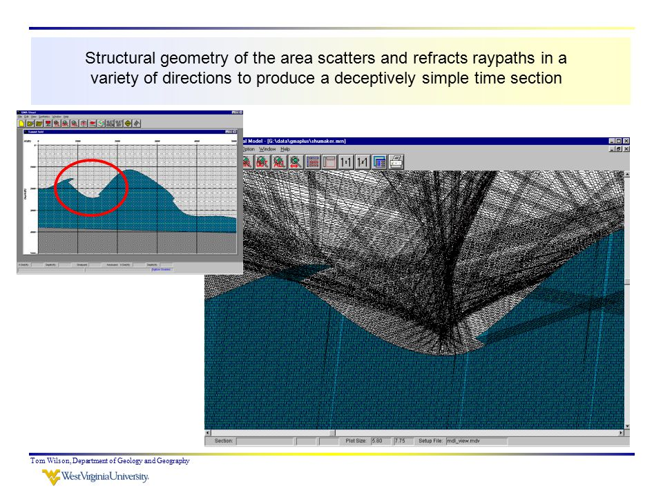 Tom Wilson, Department of Geology and Geography Structural geometry of the area scatters and refracts raypaths in a variety of directions to produce a deceptively simple time section