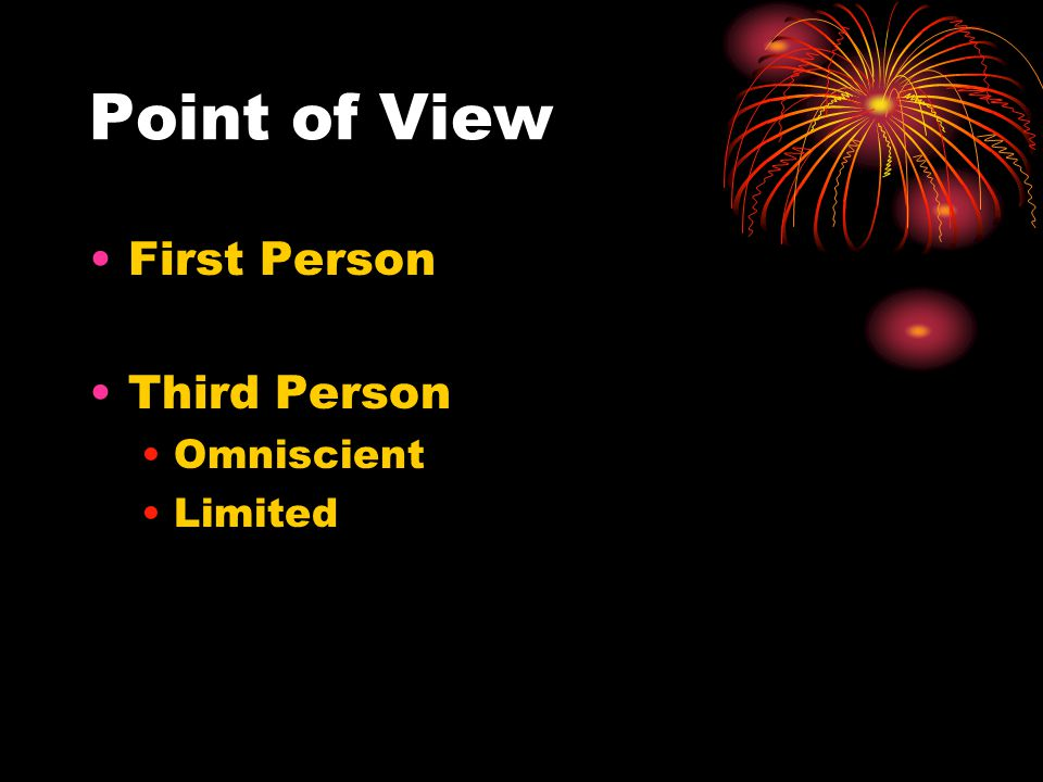 Point of View First Person Third Person Omniscient Limited