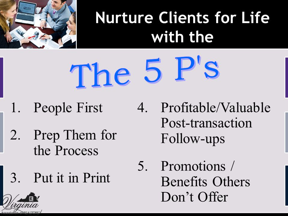 Nurture Clients for Life with the 1. People First 2.