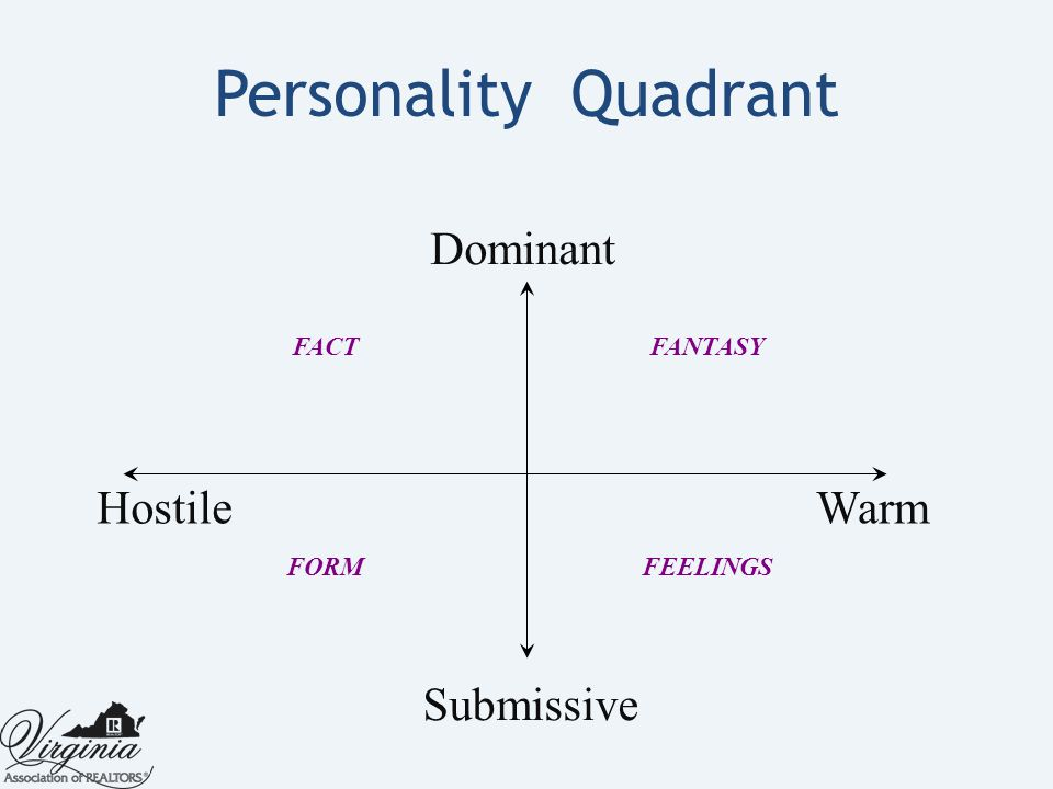 Personality Quadrant FACTFANTASY FEELINGSFORM Dominant Submissive HostileWarm