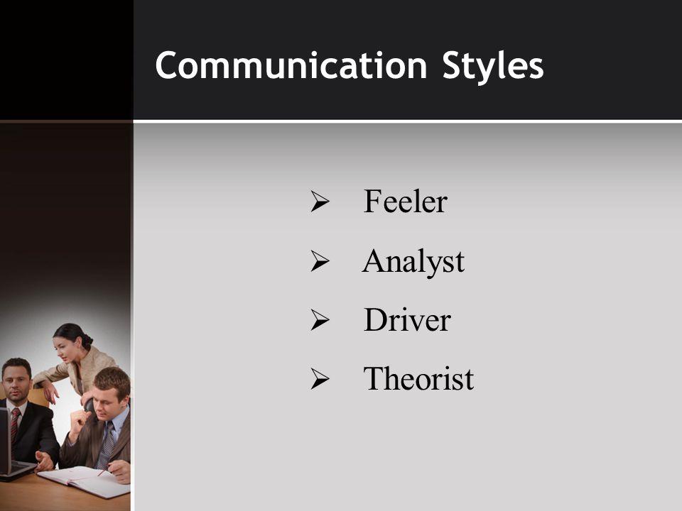 Communication Styles  Feeler  Analyst  Driver  Theorist