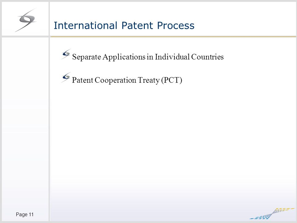 Page 11 International Patent Process Separate Applications in Individual Countries Patent Cooperation Treaty (PCT)