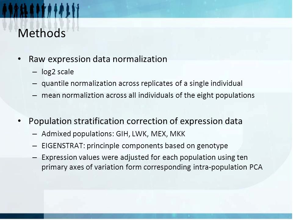 Methods Raw expression data normalization – log2 scale – quantile normalization across replicates of a single individual – mean normaliztion across all individuals of the eight populations Population stratification correction of expression data – Admixed populations: GIH, LWK, MEX, MKK – EIGENSTRAT: princinple components based on genotype – Expression values were adjusted for each population using ten primary axes of variation form corresponding intra-population PCA