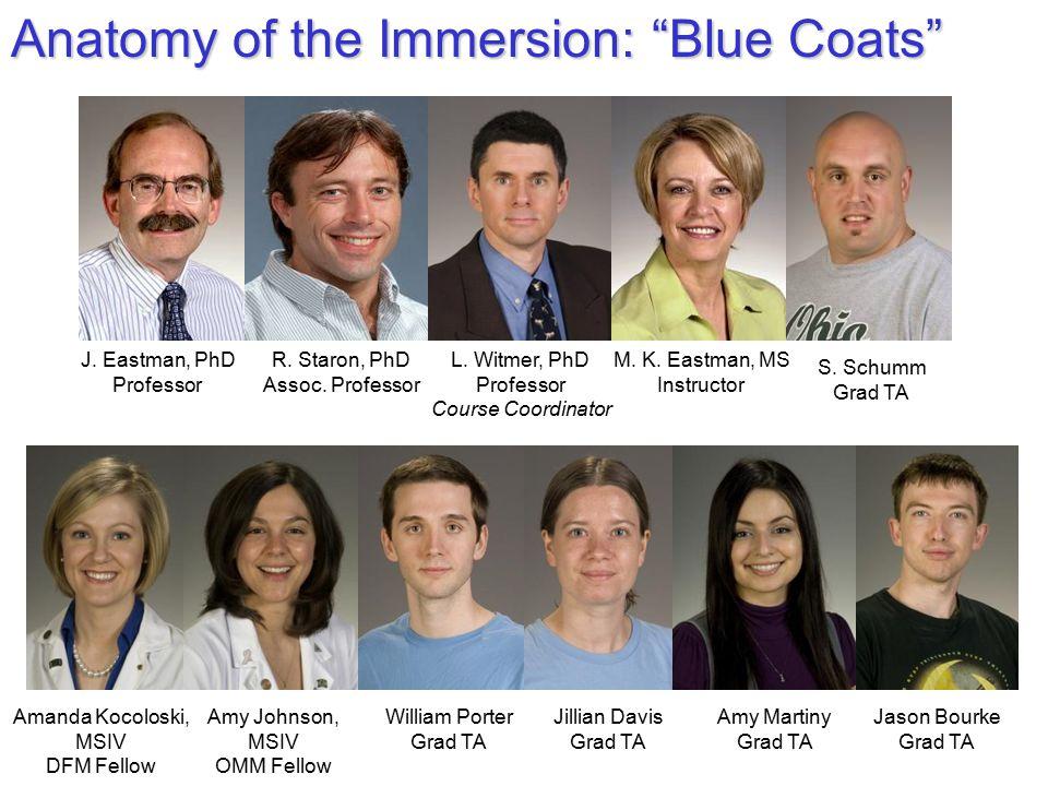 "Anatomy of the Immersion: ""Blue Coats"" L. Witmer, PhD Professor Course Coordinator J. Eastman, PhD Professor R. Staron, PhD Assoc. Professor M. K. Eas"