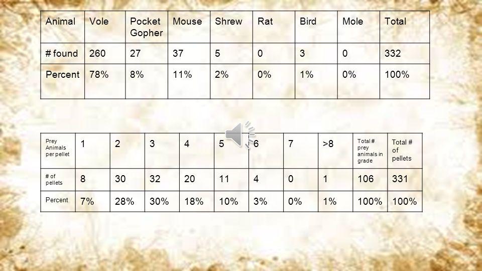 AnimalVolePocket Gopher MouseShrewRatBirdMoleTotal # found26027375030332 Percent78%8%11%2%0%1%0%100% Prey Animals per pellet 1234567>8 Total # prey animals in grade Total # of pellets # of pellets 830322011401106331 Percent 7%28%30%18%10%3%0%1%100%