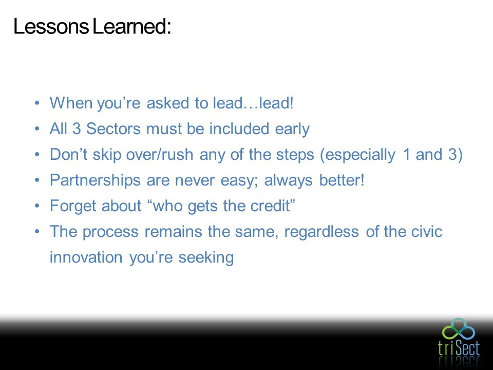 Lessons Learned: When you're asked to lead…lead.