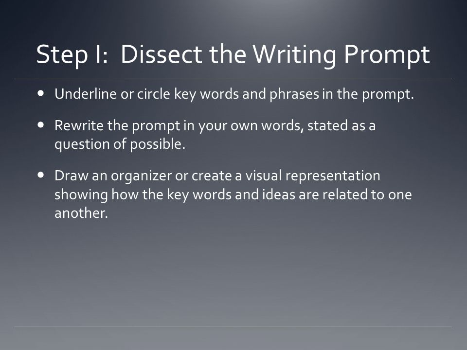 Step I: Dissect the Writing Prompt Underline or circle key words and phrases in the prompt. Rewrite the prompt in your own words, stated as a question